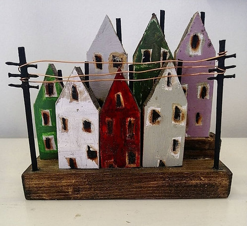 'Houses with Telegraph Poles' wooden sculpture