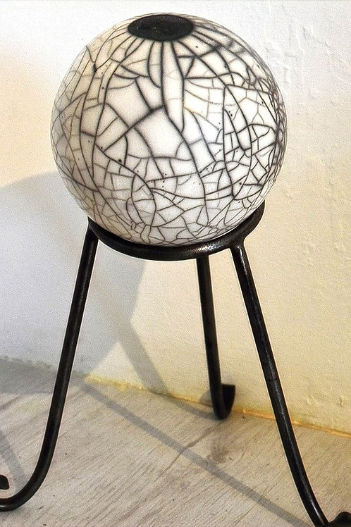 Raku Ball on forged iron stand