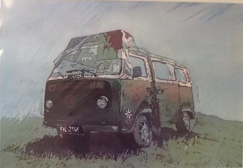 'Welsh VW Van' Mounted Reproduction Print