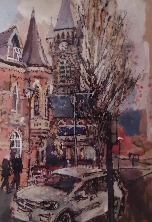 'Old Con Club and St David's Church, Neath' Print