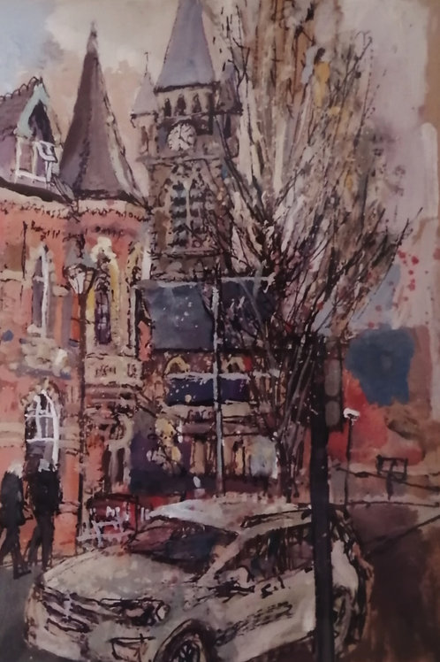 'Old Con Club and St David's Church, Neath' Print