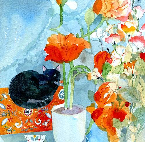 'Cat on Orange Rug'