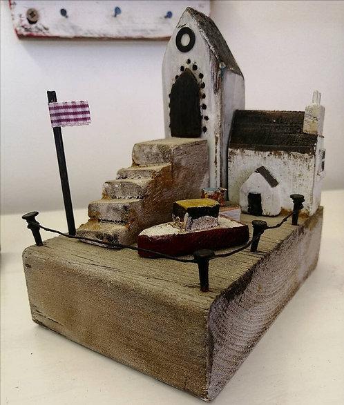 'Harbour Scene' wooden sculpture