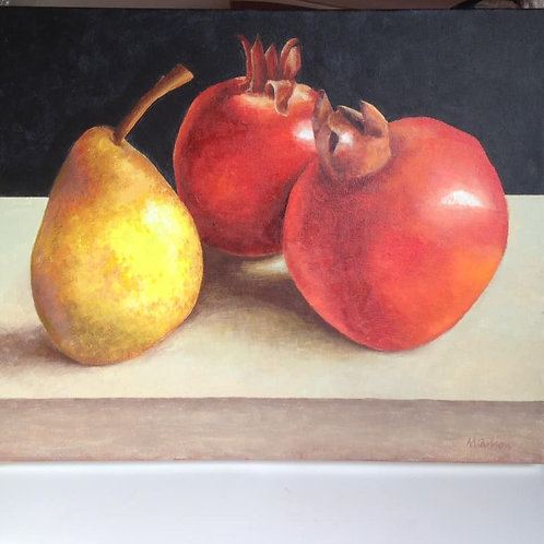 Two Pomegranates and a Pear