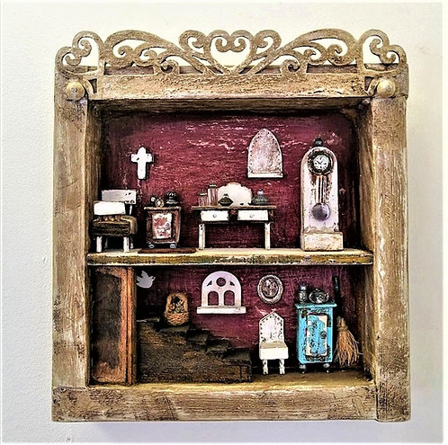 'Witches Cottage' wooden sculpture