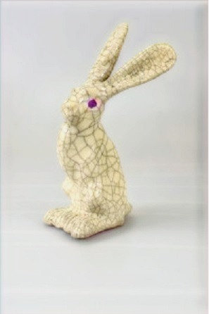 Small Sitting Raku Hare