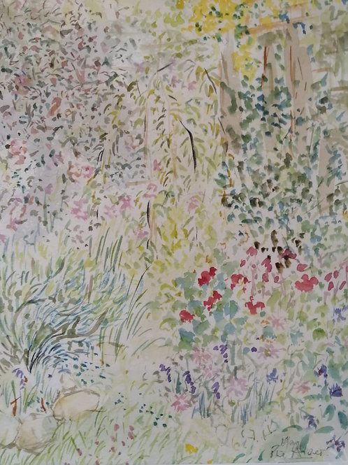 'Garden drawing' Mounted original water colour