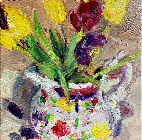 Tulips in Welsh Pottery Jug