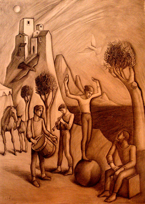 'Musicians and Acrobats in Archaic Landscape' Unframed original pencil on paper