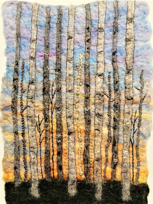 'Silver Birch' needle felt and embroidery landscape