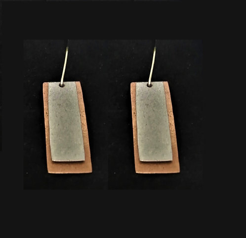 Copper and Silver Layer Earrings