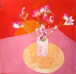 pink fressias(version 1 ) A3 giclee prin