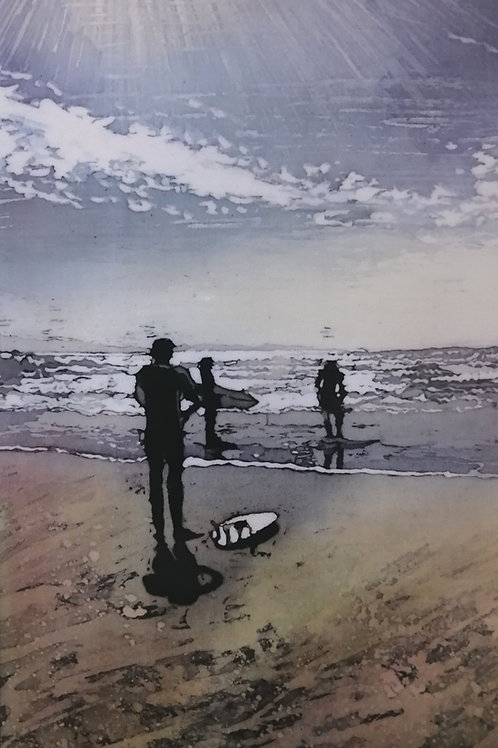 'Surfers' Mounted Reproduction Print
