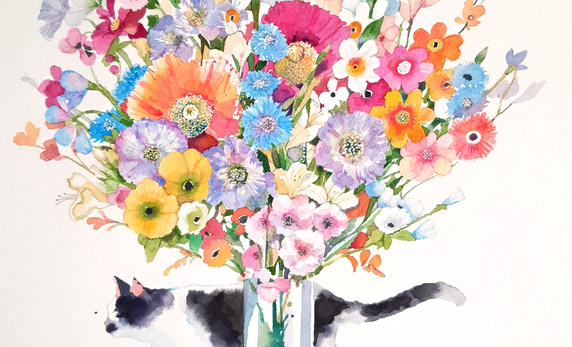 Cat with the Vase of Flowers