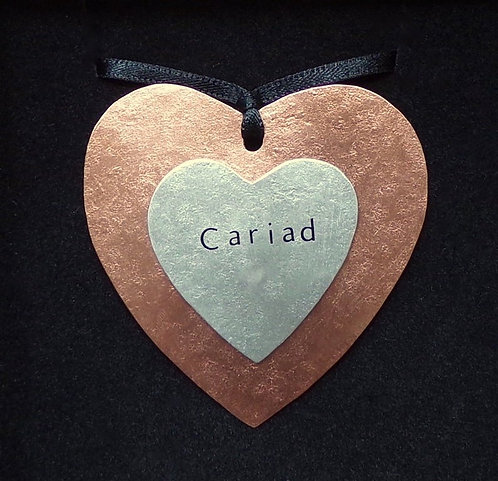 Copper and Aluminium Double Heart Pendant
