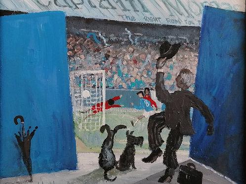 Bluebirds 'the final goal' Original framed acrylic on canvas