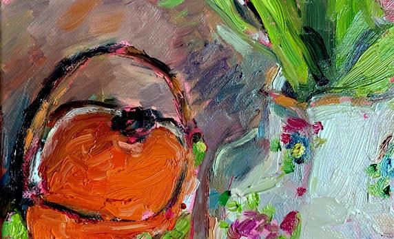 Orange Tea Caddy Tulips in Swansea Pottery Vase