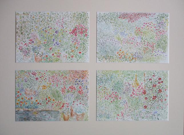 Four studies of a garden. Watercolour, e