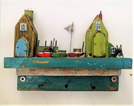 'Harbour View with Dog' wooden key holder