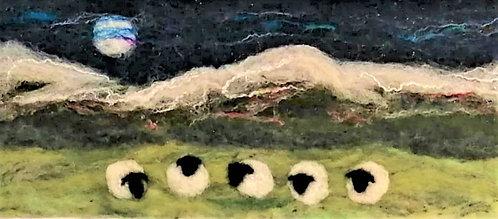 'Sheep on the Hills' needlefelt landscape