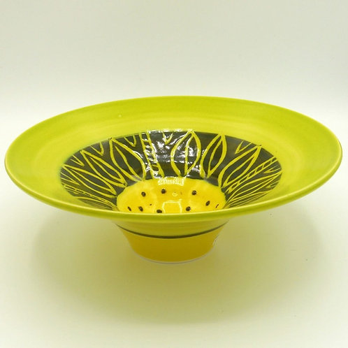 Large Green/Yellow Flower Bowl