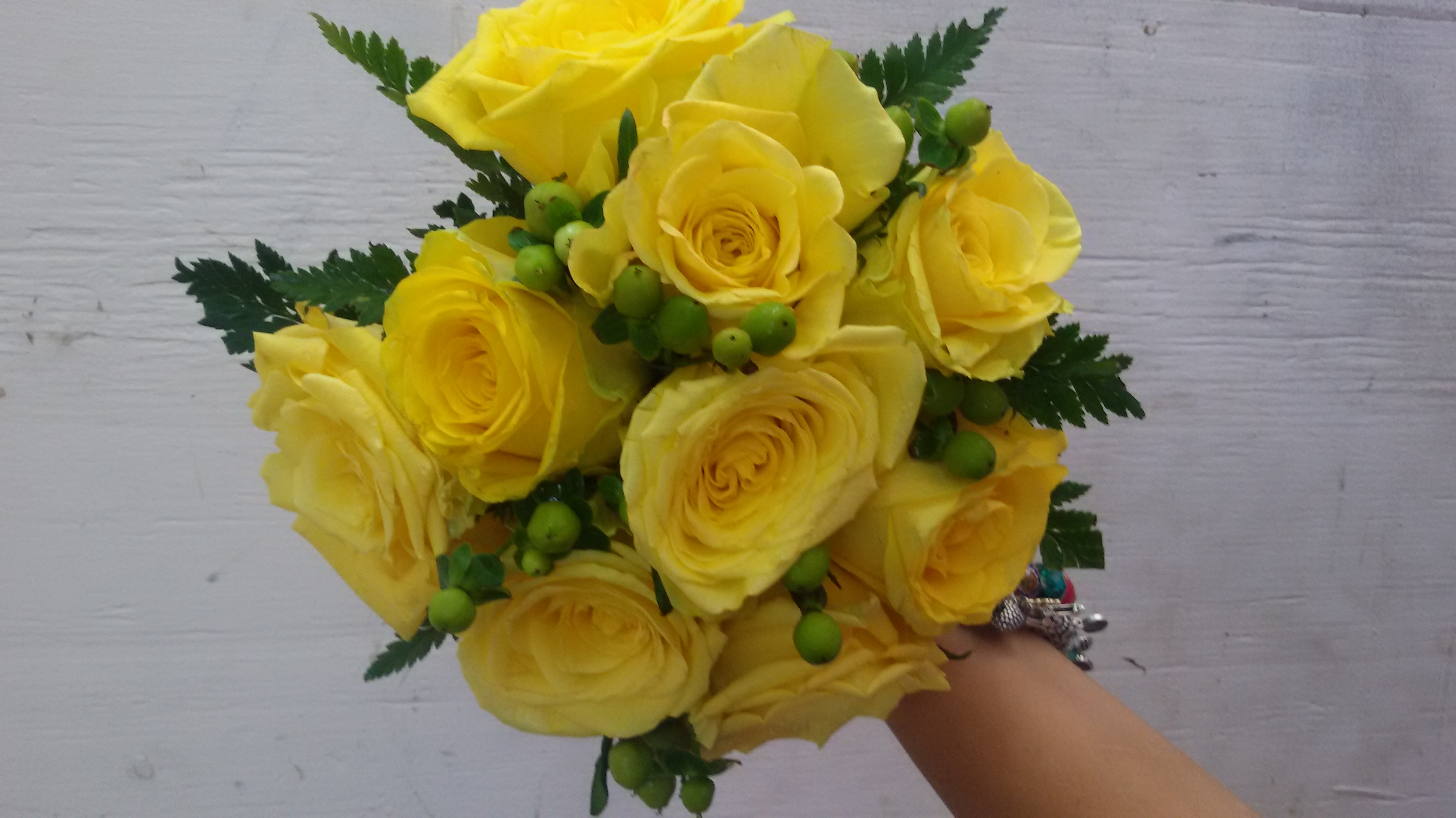 Yellow Roses & Berries