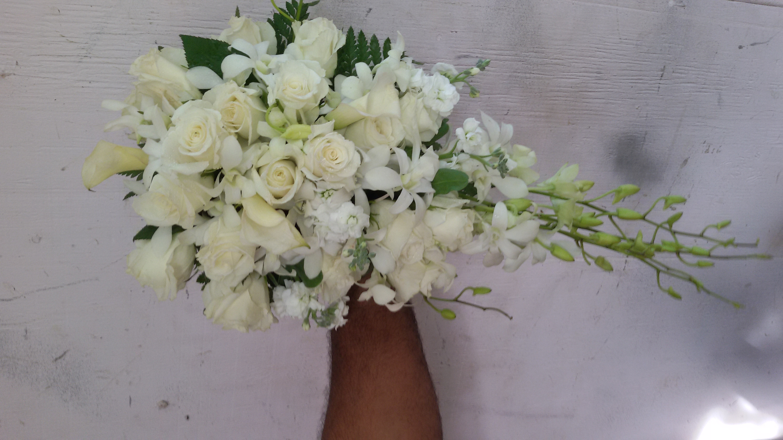 White Orchids, Roses & Lilies