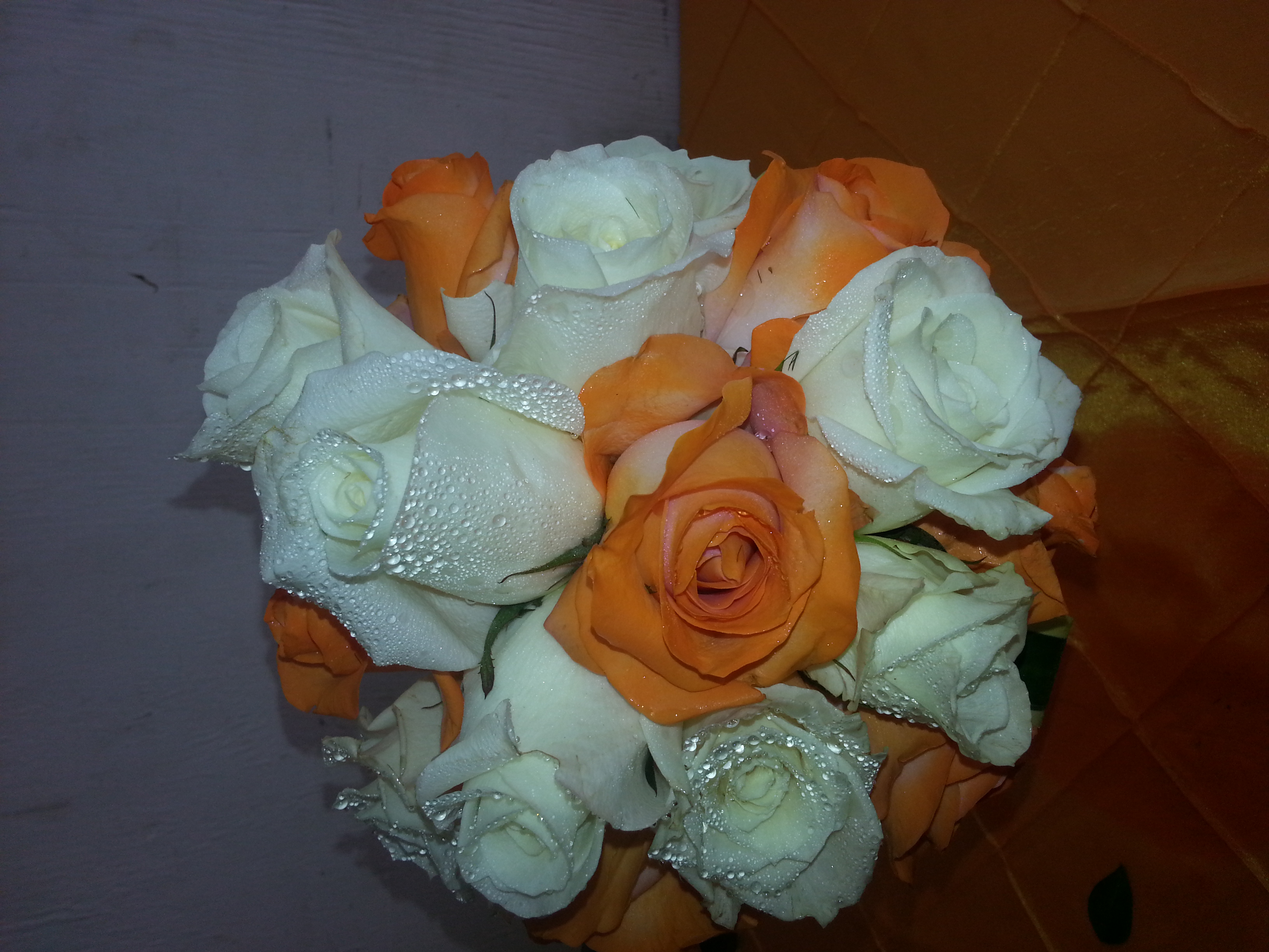 Orange & White Roses
