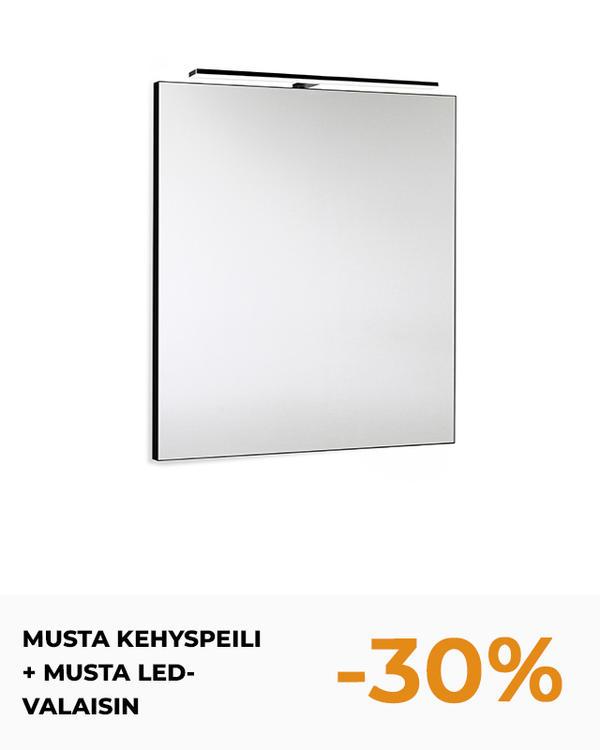 MUSTA KEHYSPEILI + MUSTA LED-VALAISIN