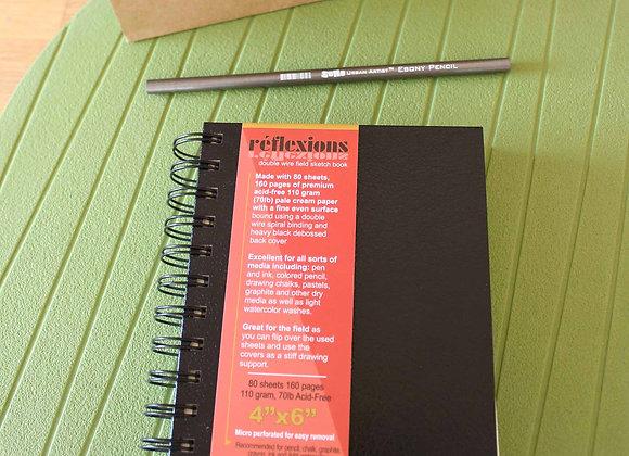 "4"" x 6"" Spiral Bound Sketchbook & Ebony Pencil Set"