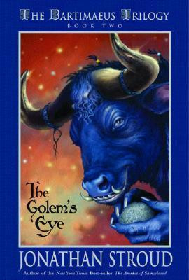 a creature with a bull's head holds a large glass eye