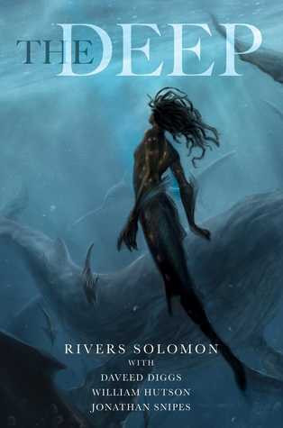 a mermaid with dreadlocks swims in deep blue water, with a whale in the background