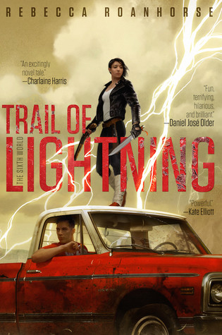 a young Dine woman holding two long knives stands on top of a red pickup truck as lightning strikes