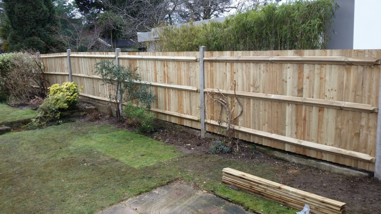 Featheredge fence from the back 6ft x 3m