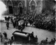 William McKinley's casket is carried out the front steps of Crossroads UMC in Canton Ohio.