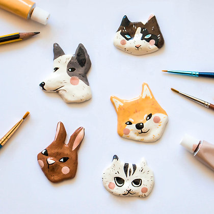 Animal clay pin