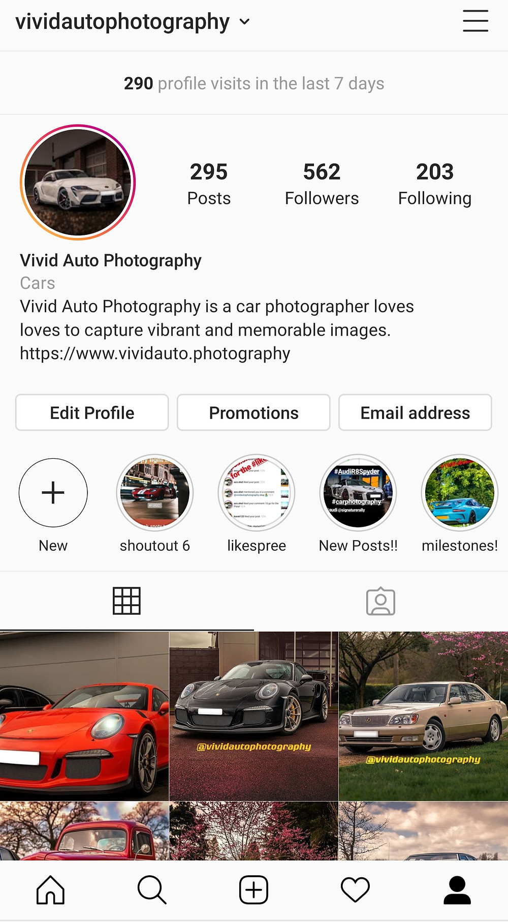 Vivid Auto Photography Instagram Page (Mobile)