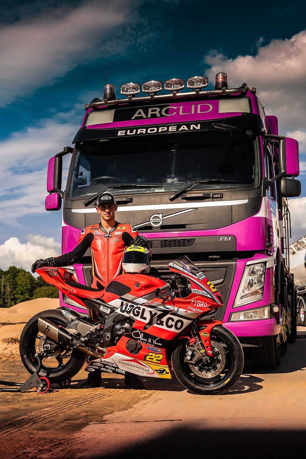 Zak with Yamaha R1 and Volvo XF | Side Profile poster