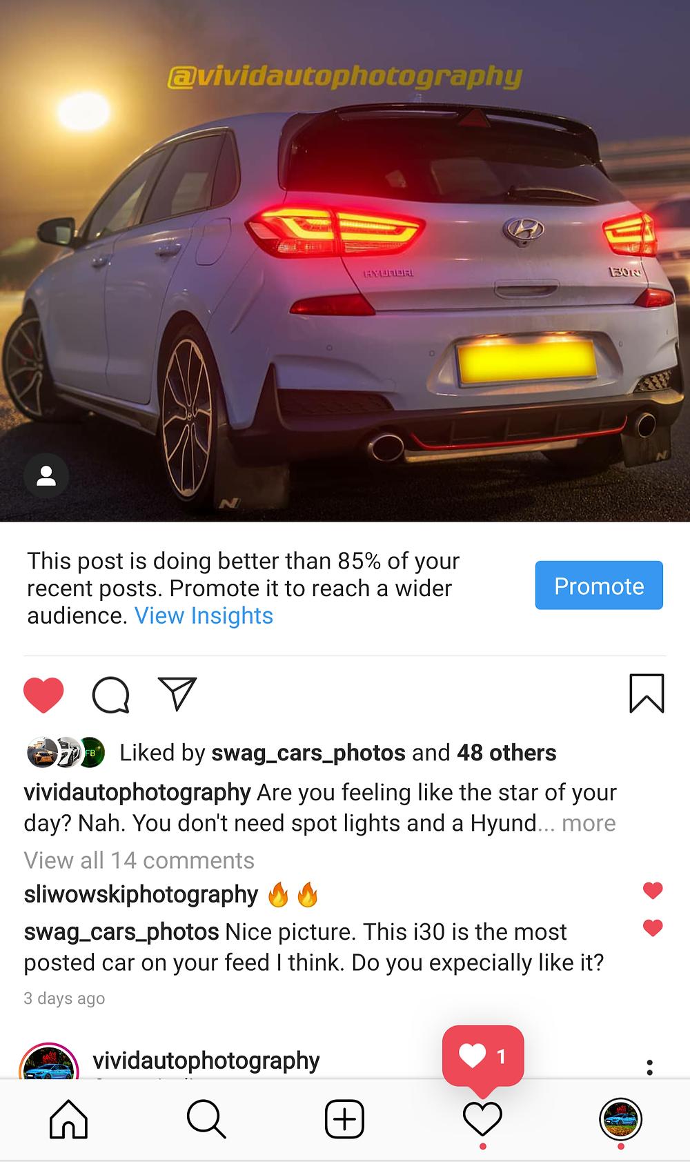 Instagram Car Photography caption | Hyundai i30N Performance