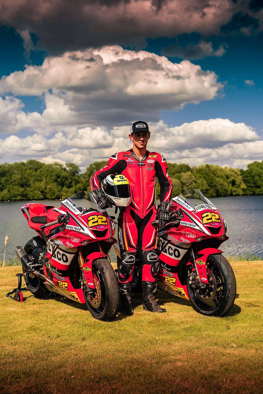 Zak with X2 Yamaha R1 | Front three quarter poster