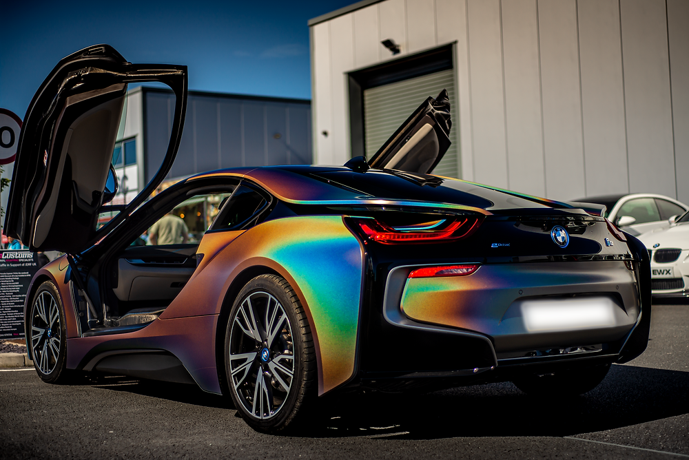 BMW i8 Psychedelic rainbow wrap rear three quarters