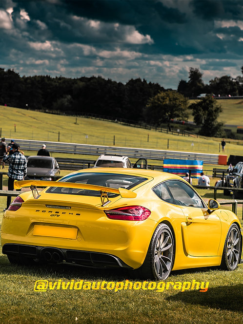 Porsche Cayman GT4  Racing Yellow   Oulton Park