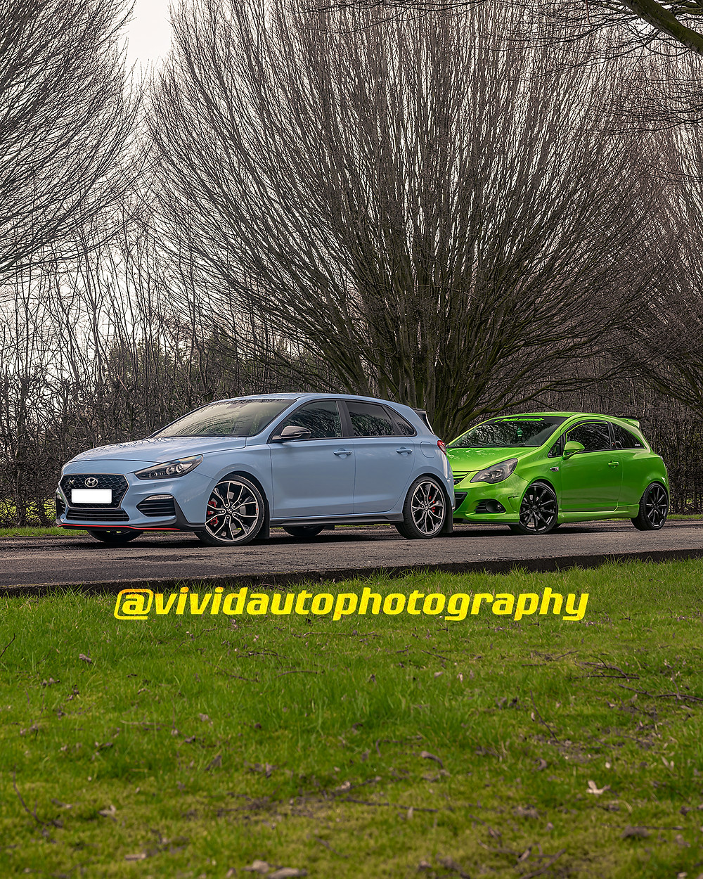 Hyundai i30N Performance and Vauxhall Corsa VXR Nurburgring Edition front three quarters Crewe Hall