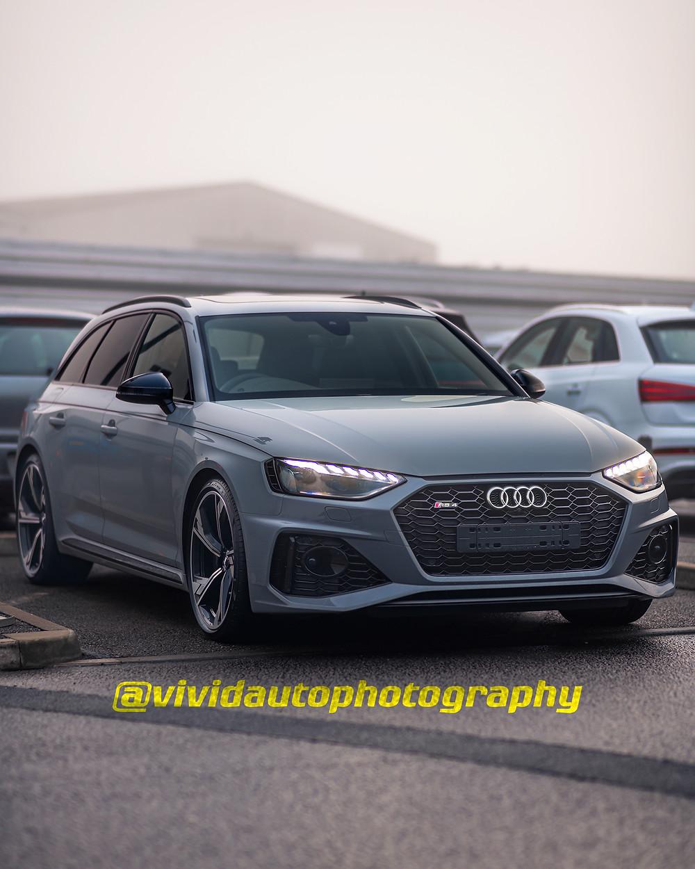 Audi RS4 Avant front three quarters | Automotive caption Instagram