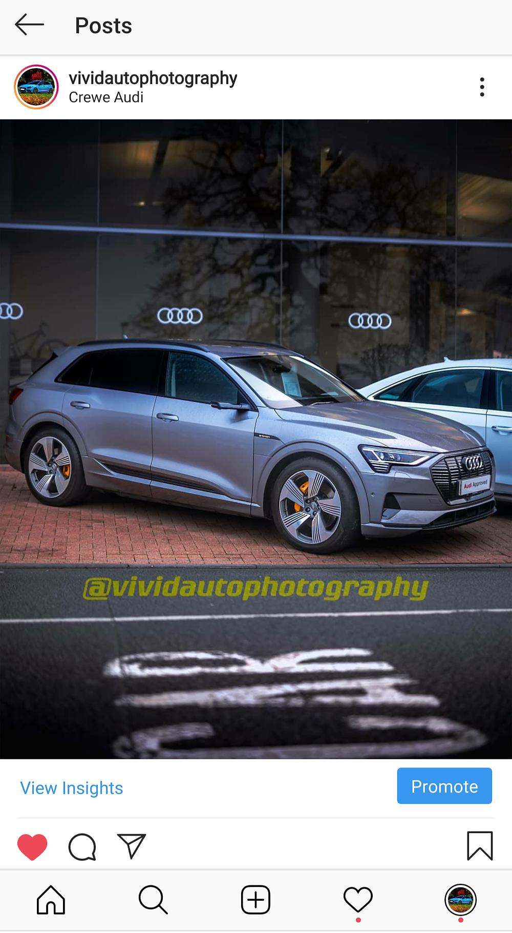 Instagram post user interface | Audi E-Tron
