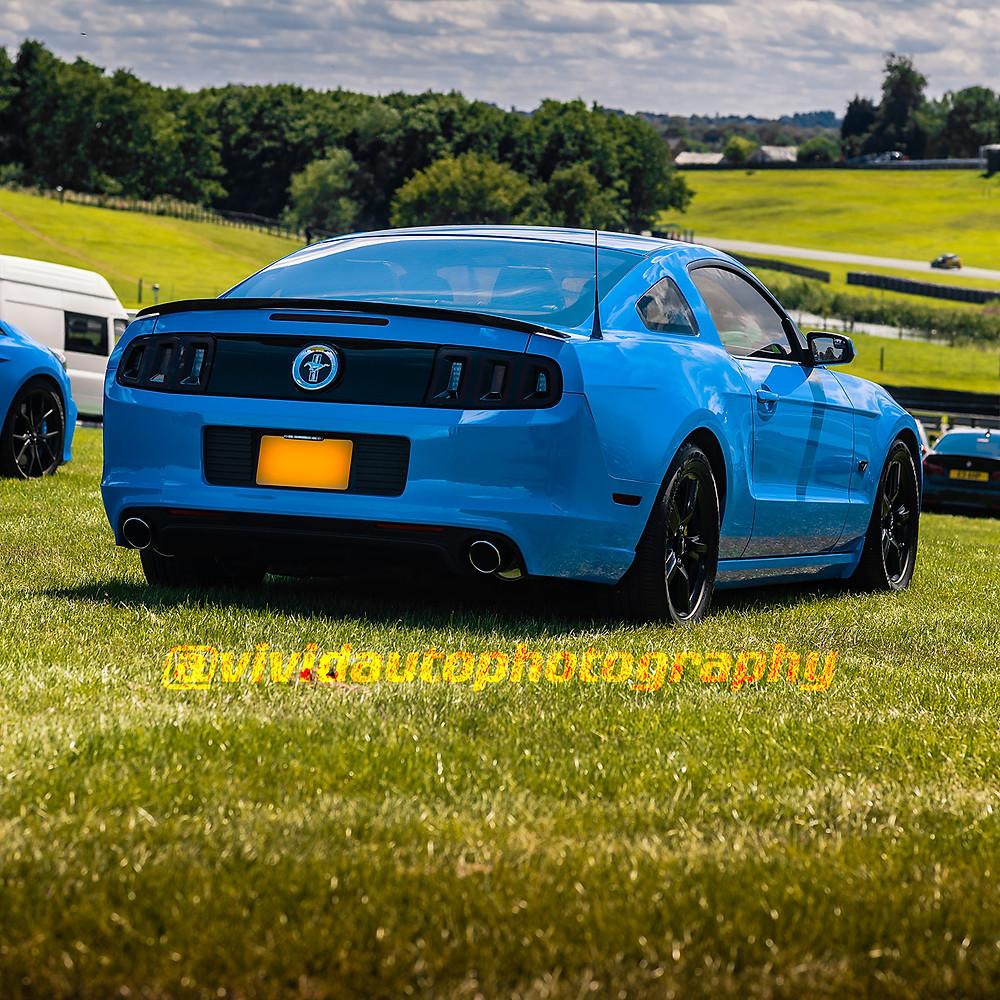 Ford Mustang V6 | Light blue | rear three quarter