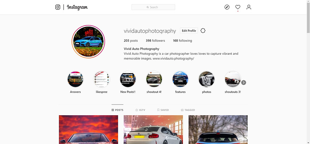 Vivid Auto Photography Instagram