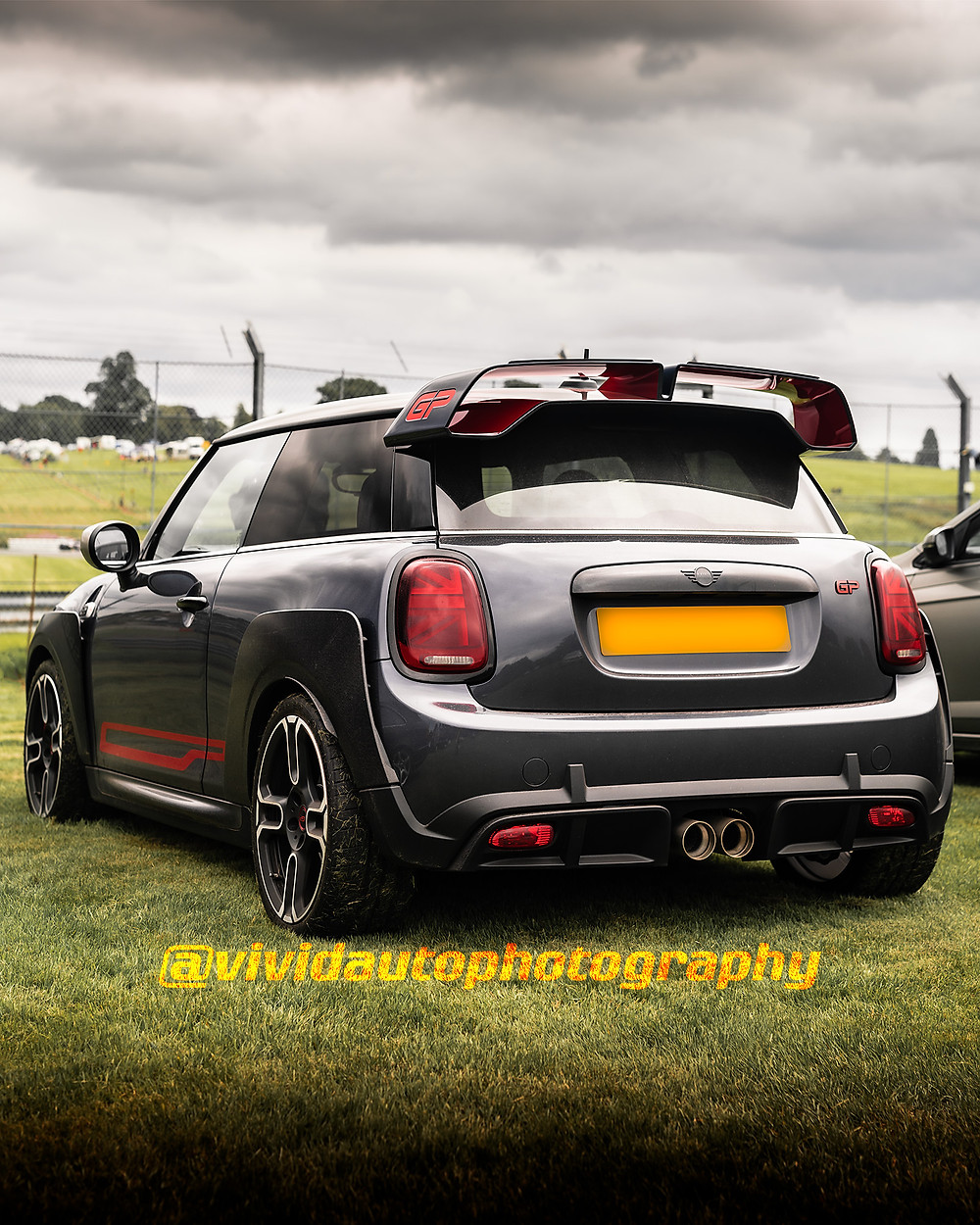 Mini Cooper JCW GP MK3 Racing Grey/Chilli Red | Rear three quarters poster | Oulton Park