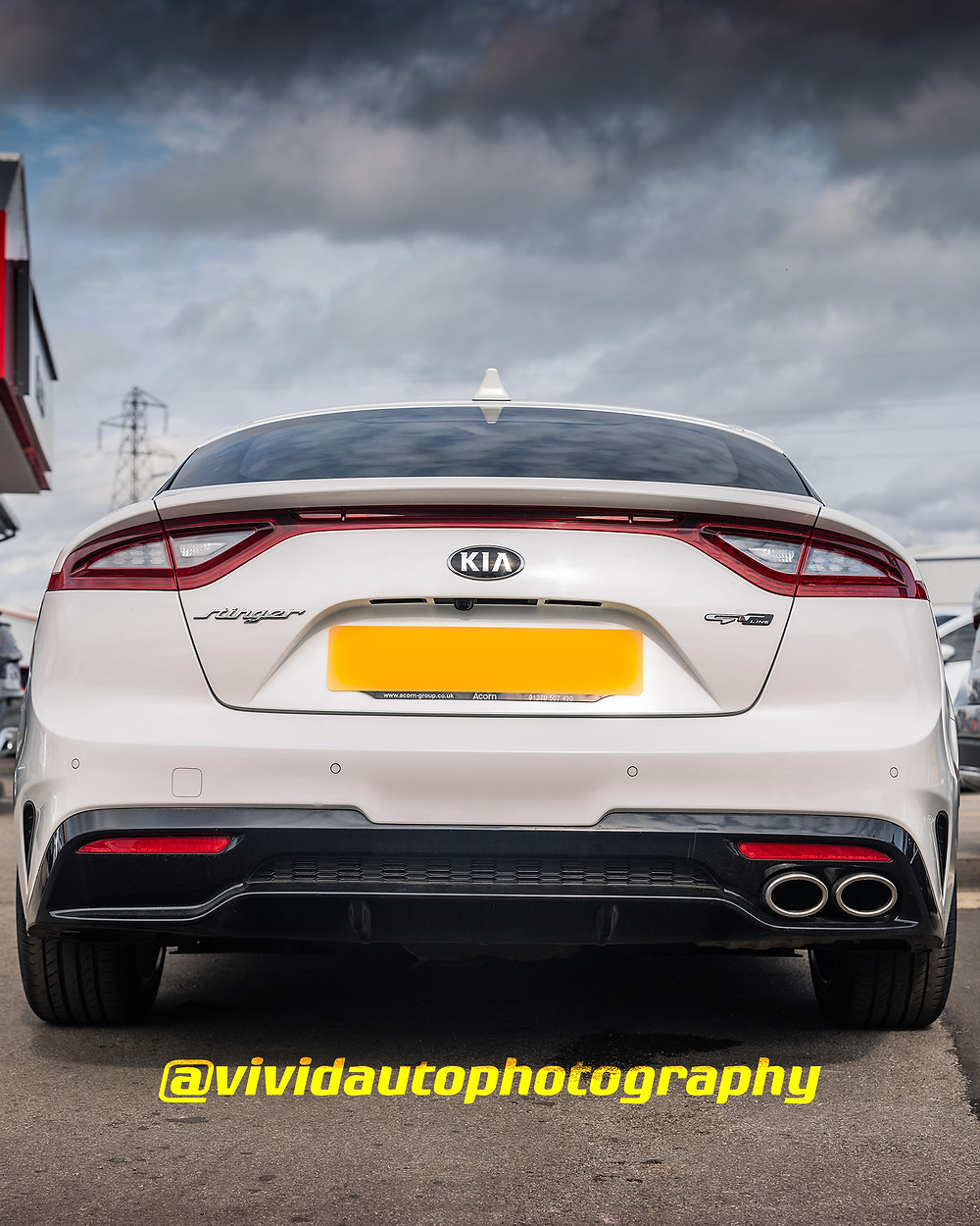 Kia Stinger GT-S Line | Snow White Pearl | Rear three quarters poster