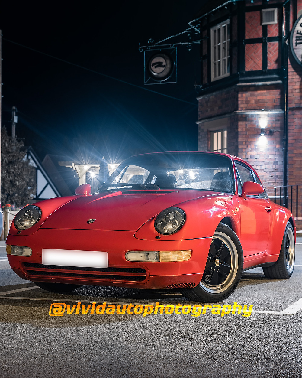 Porsche 911 (993) | Guards Red | Front three quarters poster